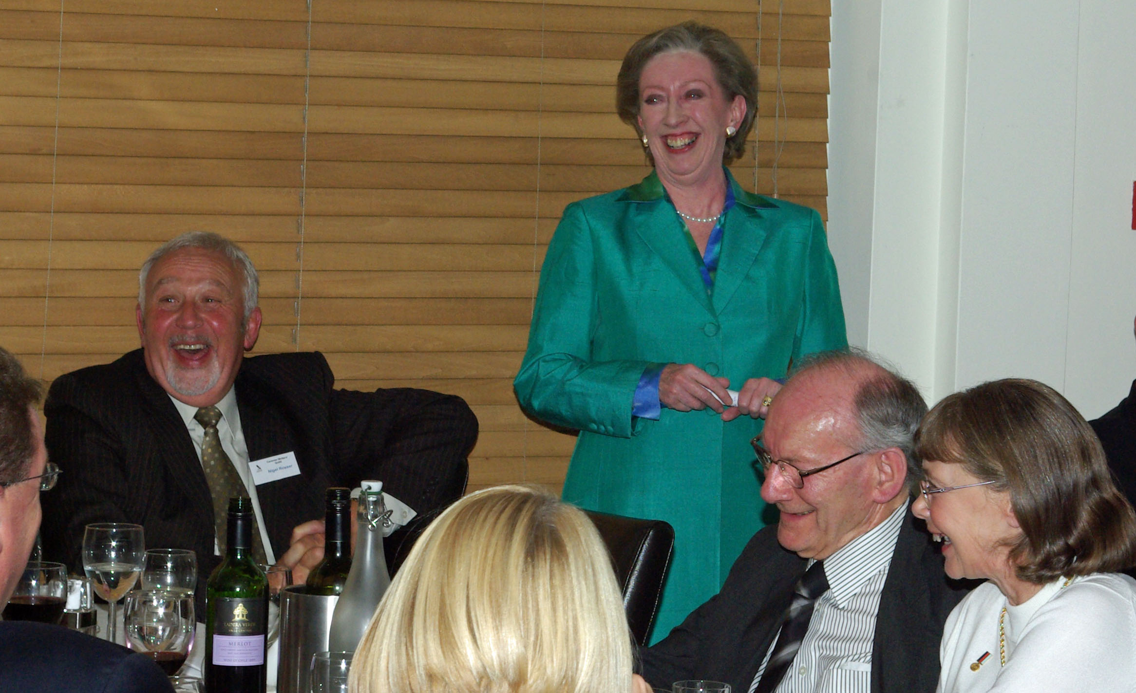 CWG history - Rt Hon Margaret Beckett MP at the October 2010 Guid dinner with CWG Chairman Nigel Rosser (left) and husband Leo (right)